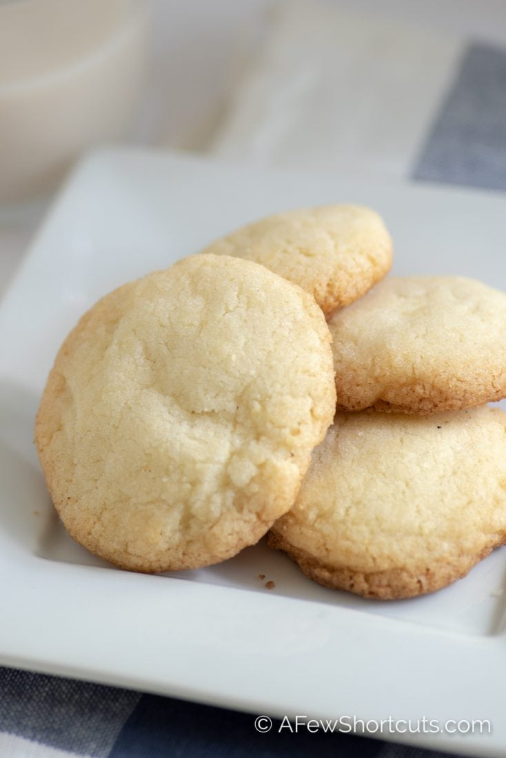 This recipe is a keeper! A Simple Drop Sugar Cookie Recipe that can be easily converted to gluten free. These are a family fav! | AFewShortcuts.com #glutenfree #dessert #cookie #dairyfree #recipe #recipes