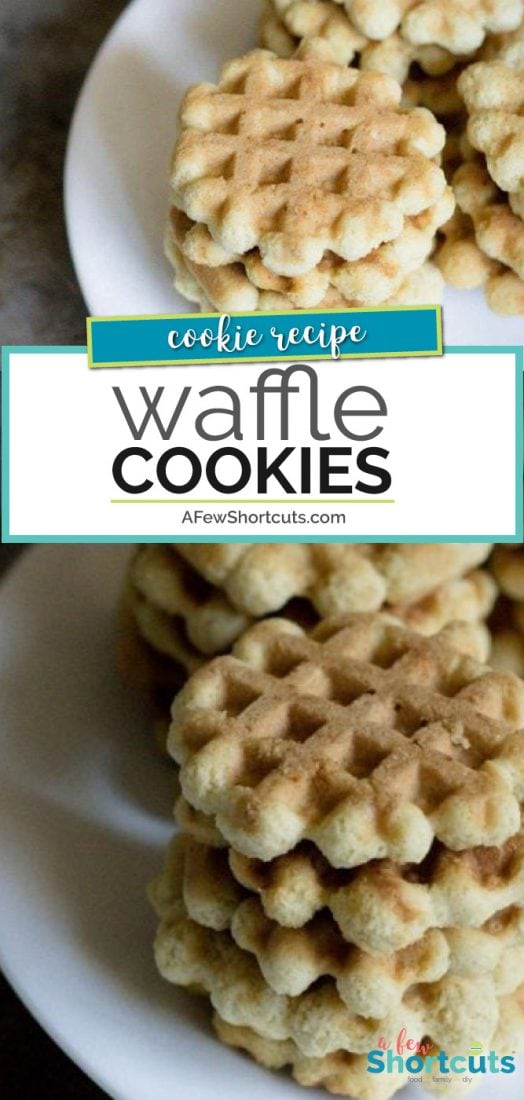 One of my favorite Christmas Cookies. The kids love to help make this simple Waffle Cookies Recipe! They are perfect for cookie exchanges and for gifts! | @AFewShortcuts #cookies #recipe #christmas #recipes