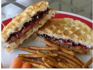 PB&J Waffle Sandwiches