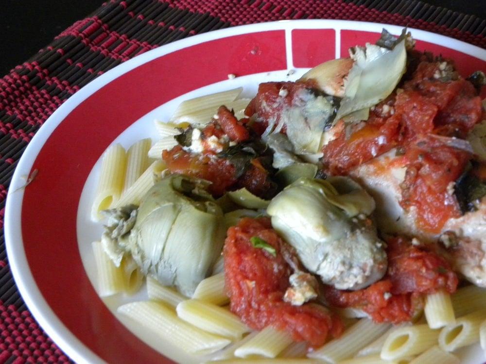 Tomato Artichoke Chicken (Crockpot)
