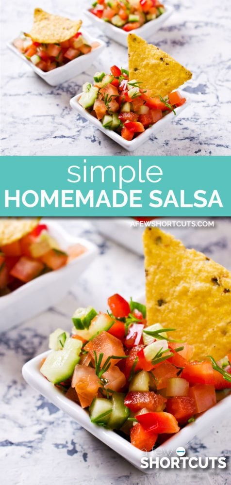 Spice up your life with this simple homemade salsa recipe! A perfect way to use up some of those extra tomatoes from the garden!