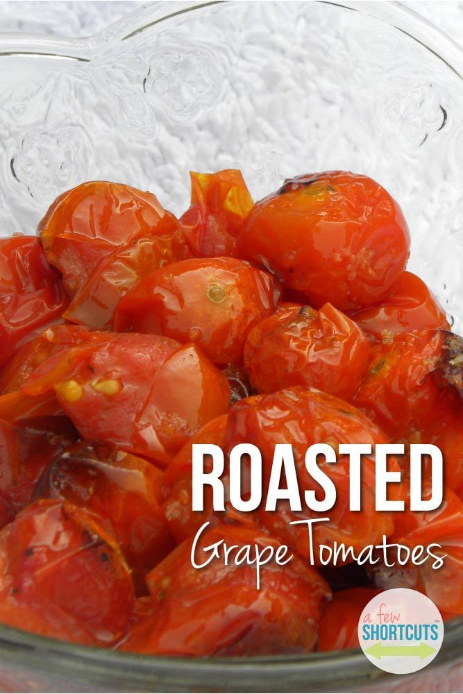 A simple summer side dish that is sure to please! This easy Roasted Grape Tomatoes Recipe is a keeper if your garden is bursting!