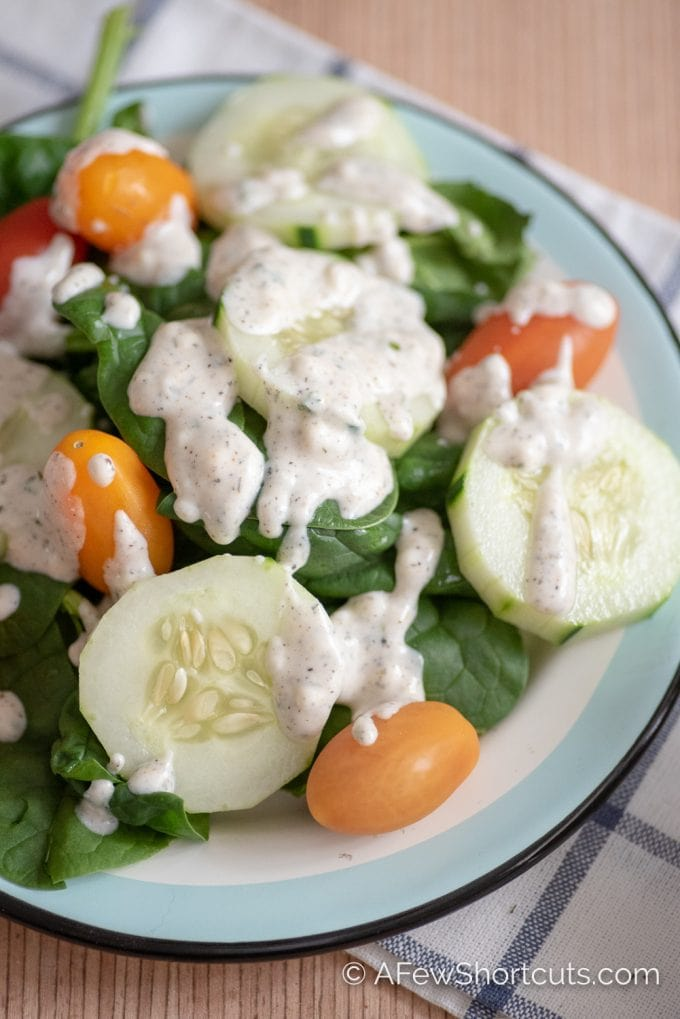 Homemade Ranch Dressing on a salad