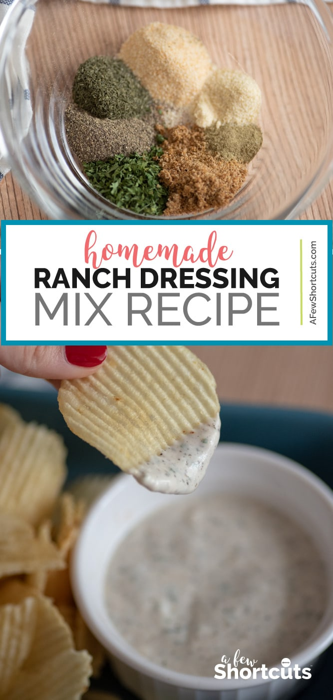 Never buy store-bought dressing again! Try this Homemade Ranch Dressing mix recipe. Use it for seasoning, dips, and dressing. Plus can be made dairy free! | @AFewShortcuts #recipes #mixes #spices #glutenfree #ranch #dairyfree