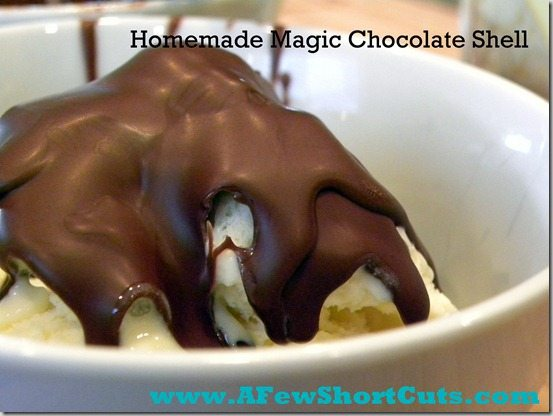 Looking for a special treat for dessert? Check out how easy this Homemade Magic Chocolate Shell Recipe is. Use dairy free chocolate to make it vegan!