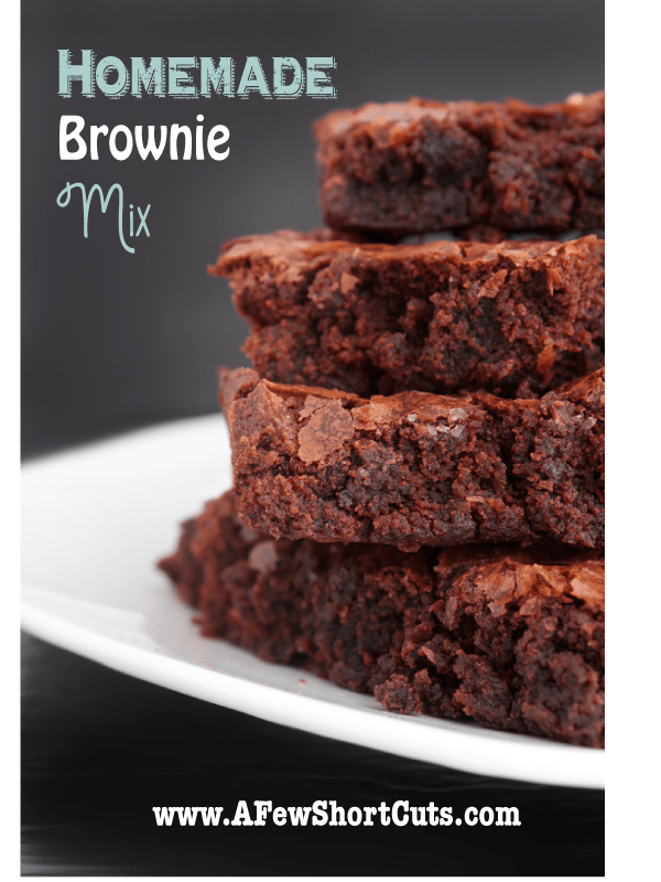 NEVER buy store bought mixes again! Make your own Homemade Brownie mix with this simple recipe! Turns out amazing. Plus there is a gluten free version too!
