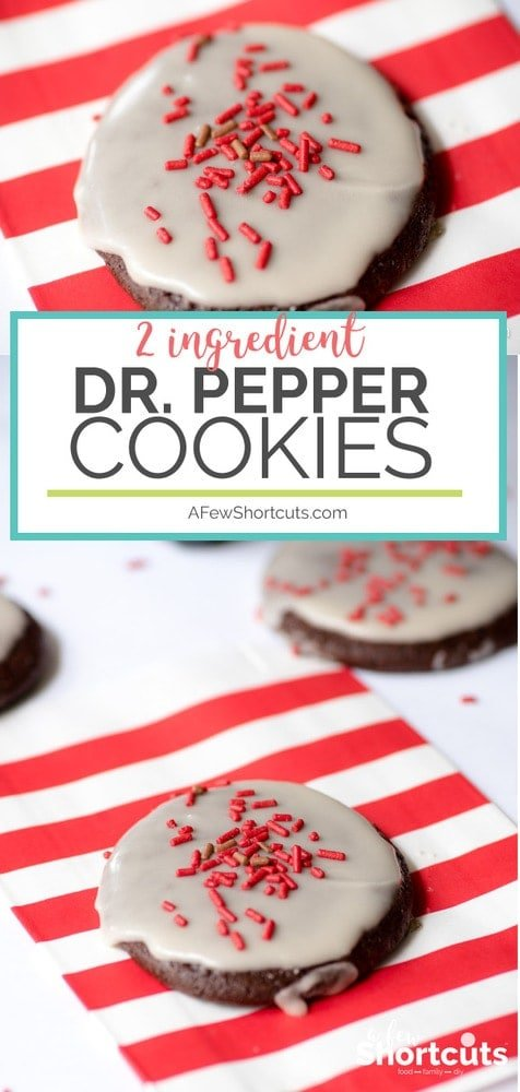 2 ingredients is all you need to make these fun and delicious Dr. Pepper Cookies! Every Dr. Pepper Lovers dream! Add a simple glaze and sprinkles for a tasty treat!