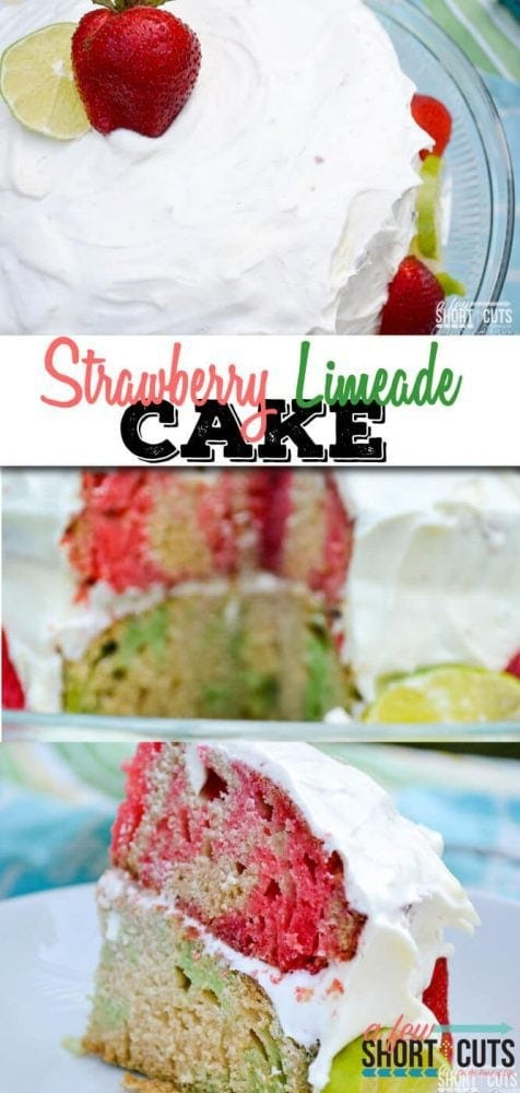 A Summer time favorite! This Strawberry Limeade Cake Recipe is so easy, plus it can be made gluten free! I love how colorful it is when you cut it!