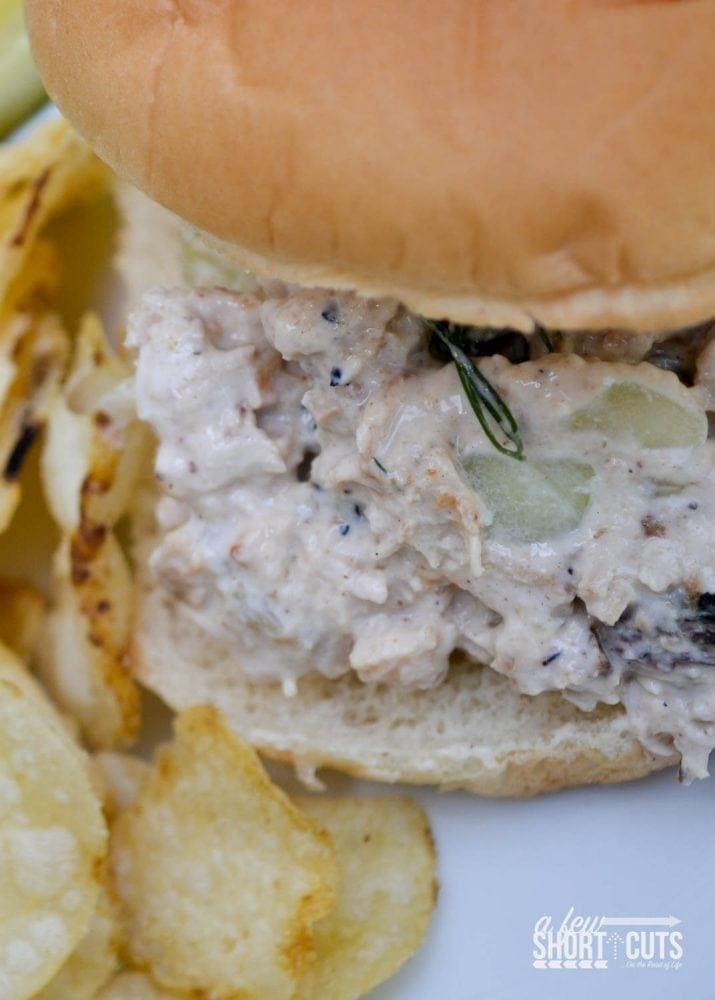 A fun crisp twist on chicken salad! Mix up a batch of this Cucumber Dill Chicken Salad recipe for lunch today!
