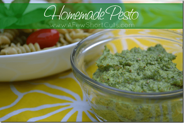 Use up all of that basil from your garden and make this simple yet delicious Homemade Pesto Recipe. Great for pasta or dipping your bread in. YUM!