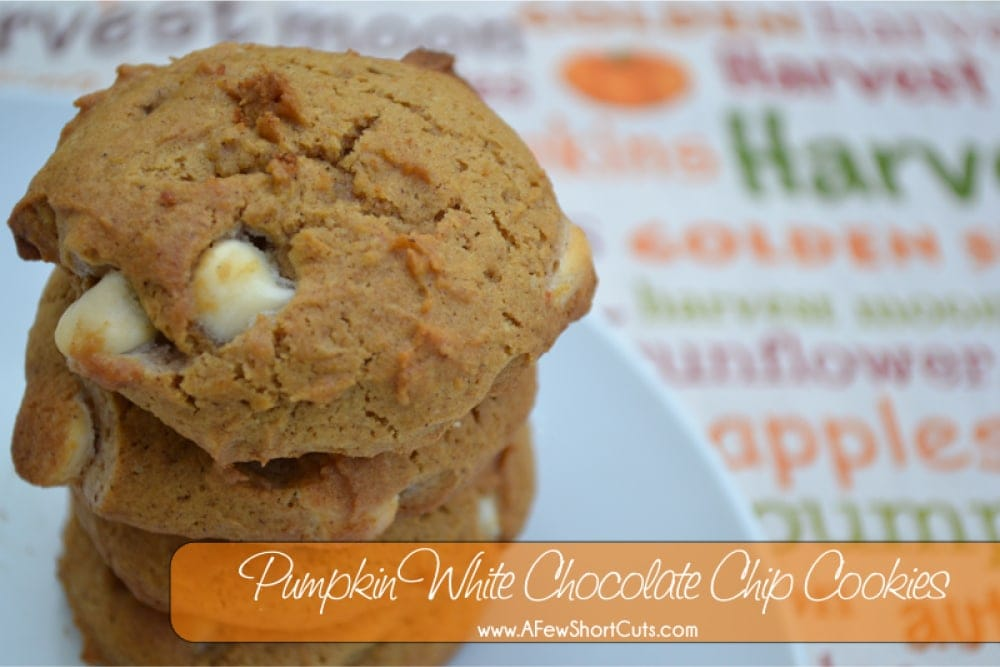 Such a tasty fall cookie! If you love pumpkin you will love this Pumpkin White Chocolate Chip Cookie Recipe.