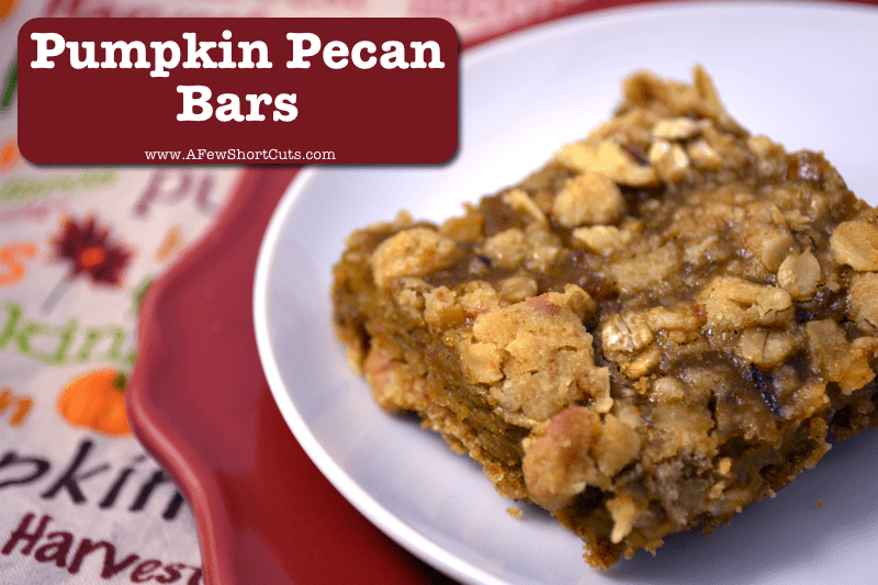 A delicious addition to a fall table. Check out this Pumpkin Pecan Bars Recipe