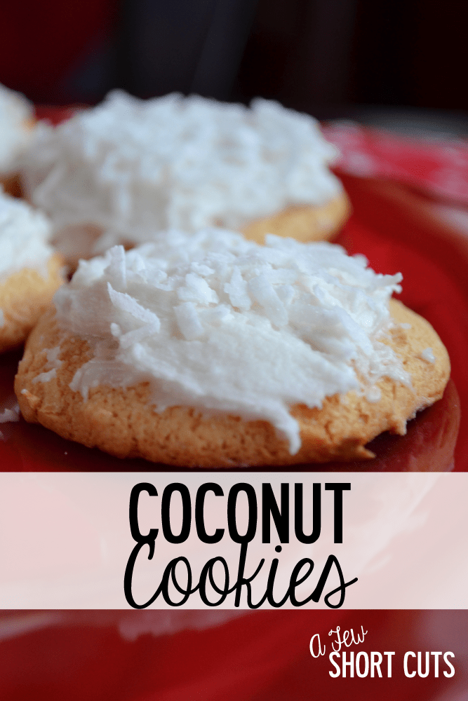 A delicious and easy treat any day of the week. This easy Coconut Cookies Recipe looks amazing on a holiday cookie tray too!