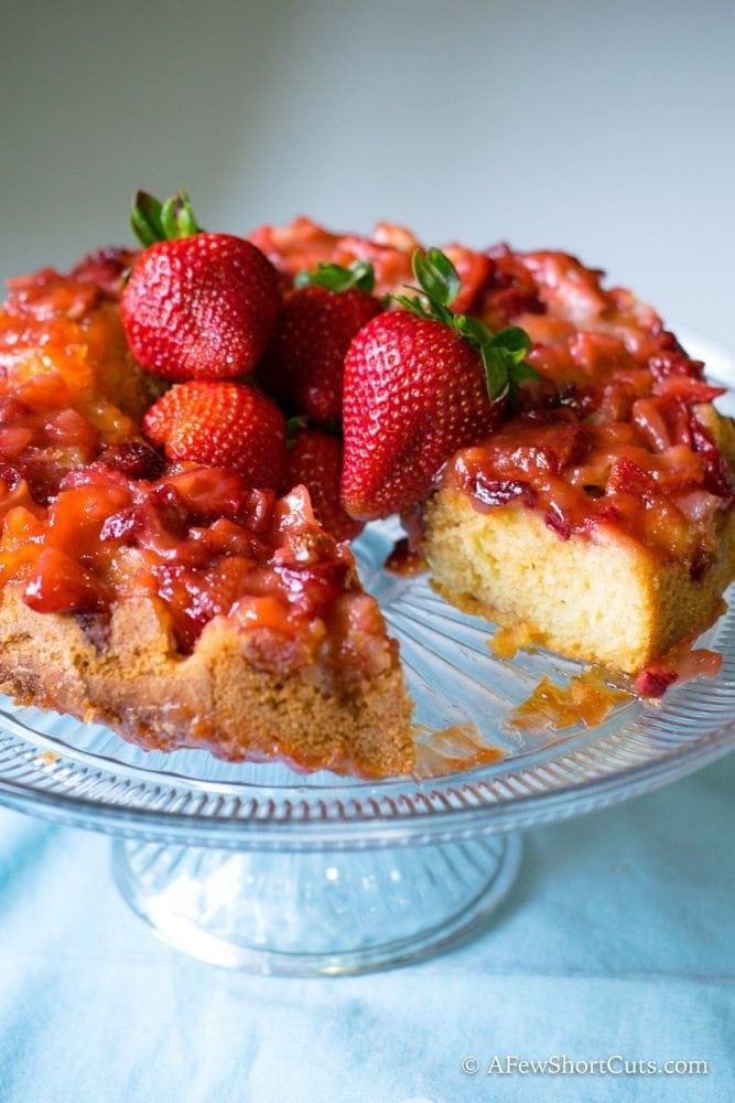 This is one cake that will wow any crowd! Try this Strawberry Upside Down Cake Recipe that is bursting with strawberry flavor!