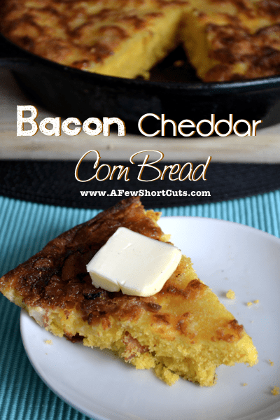 Kick your cornbread up a notch! This simple but delicious Bacon Cheddar Corn Bread Recipe is simply incredible!
