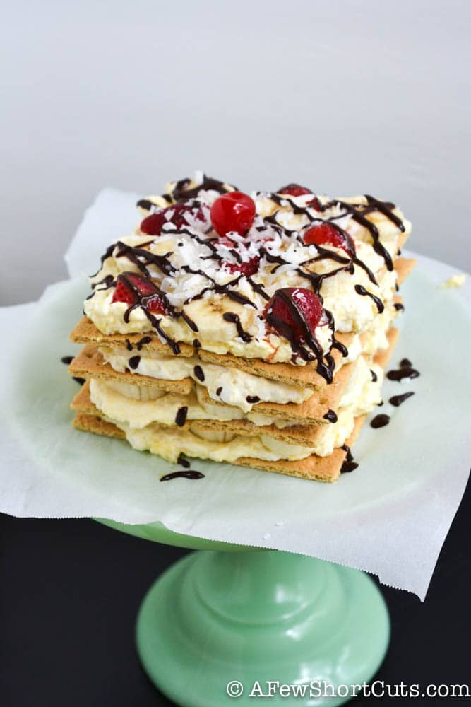 Don't miss this quick & easy no-bake dessert. It is sure to make everyone ask for more, and beg for this Banana Split IceBox Cake Recipe.