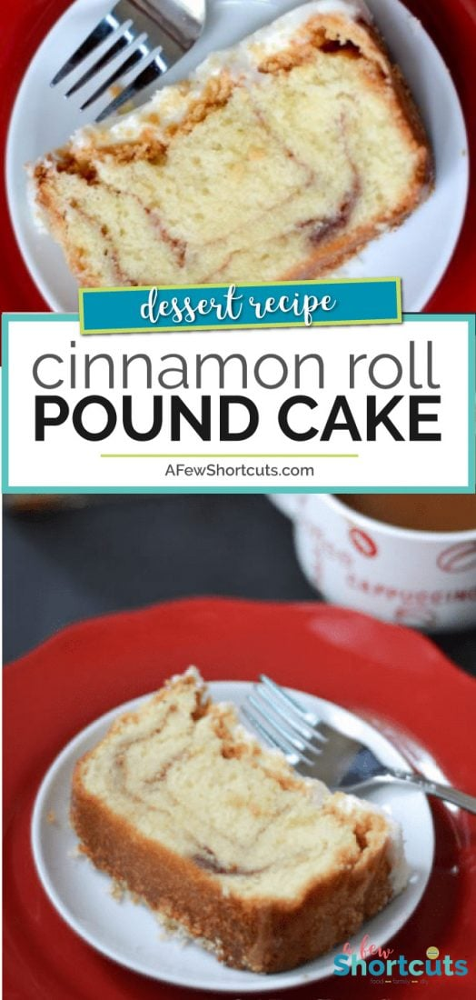 Grab a cup of coffee and friend to share this amazing and delicious Cinnamon Roll Pound Cake with! This #Recipe is a keeper! @AFEWSHORTCUTS #cake #recipe #cinnamon #holidays #baking