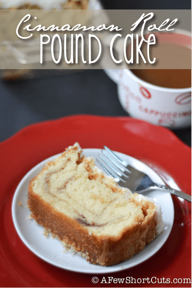 Grab a cup of coffee and friend to share this amazing and delicious Cinnamon Roll Pound Cake with! This #Recipe is a keeper!