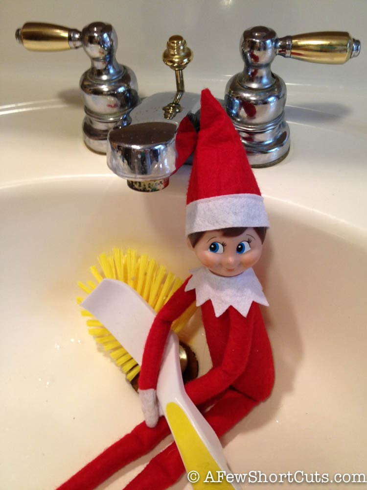 Cleaning Up Elf on the Shelf. Click for more ideas! #elfontheshelf