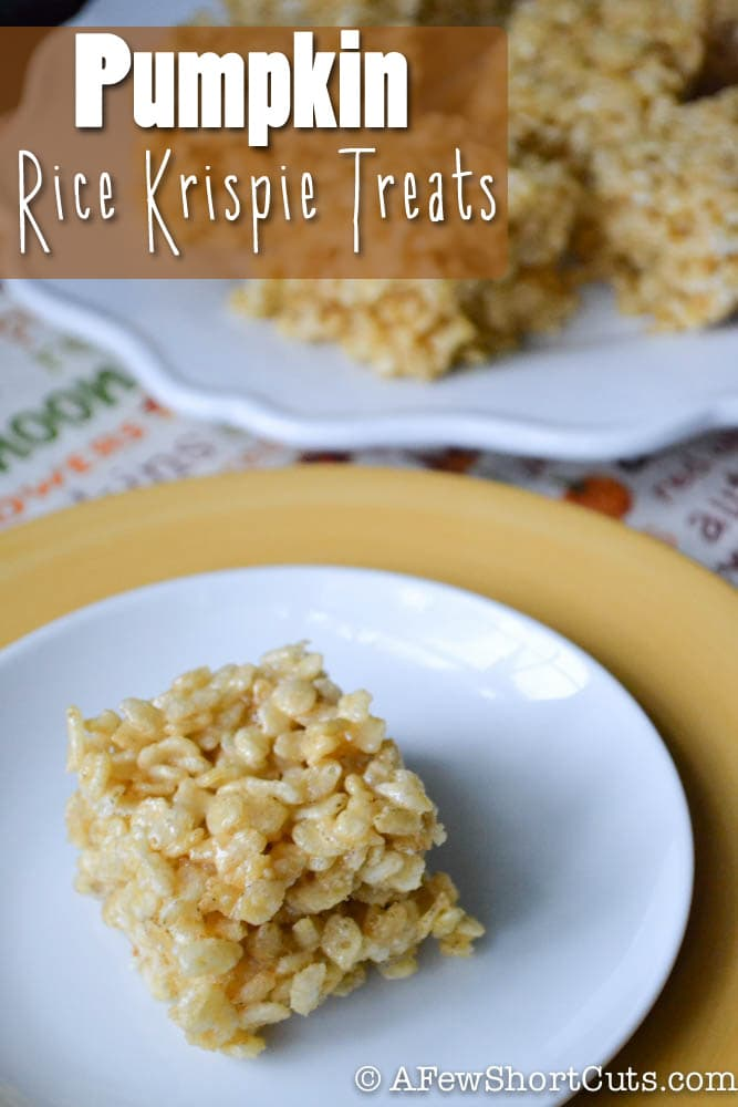 Enjoy the flavor of pumpkin with a classic Rice Krispie Treat! This Pumpkin Rice Krispie Treats Recipe is a keeper.