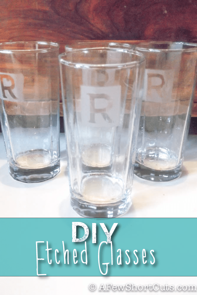 What a great homemade gift idea! These DIY Etched Glasses are simple to make and the idea can be used on other items too!