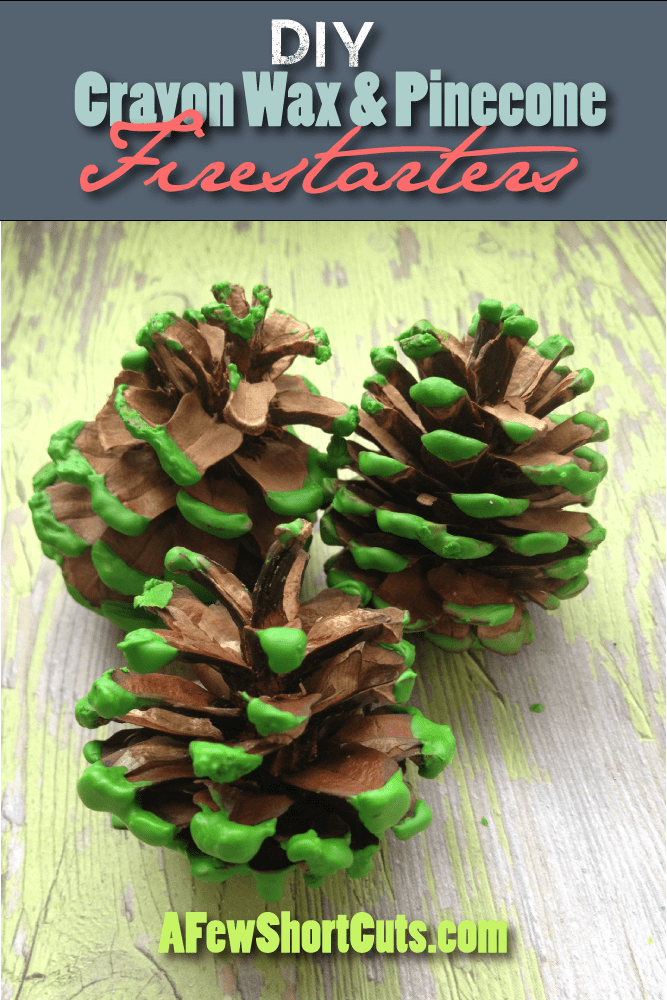 These make a great gift, or just a fun & functional decoration. Make these DIY Crayon Wax & Pinecone Firestarters