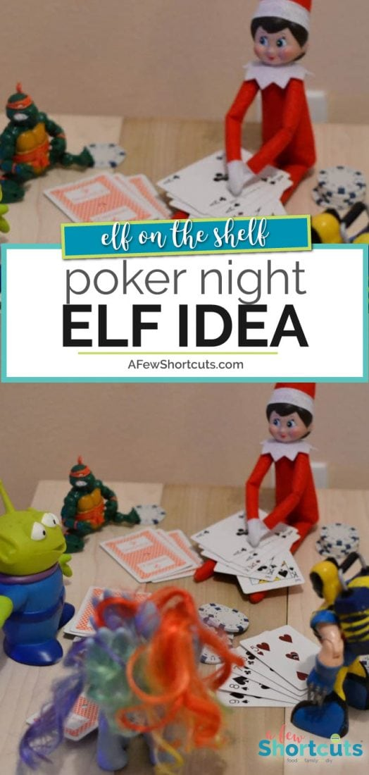 Get all the toys in on the action and check out this super fun Elf on the Shelf Idea! Time to have a poker night! | @AFewShortcuts #elfontheshelf #elf #christmas