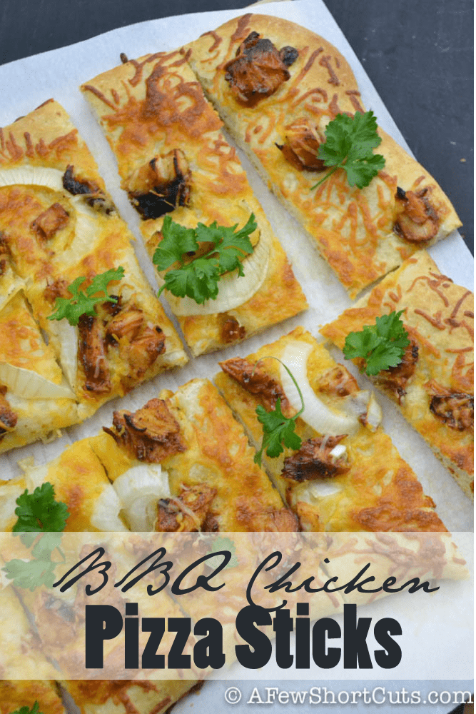 Try this super simple BBQ Chicken Pizza Sticks Recipe for the next big game or get together.