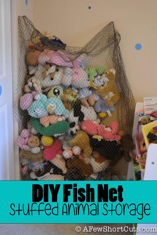 diy fish net stuffed animal storage a few shortcuts. Black Bedroom Furniture Sets. Home Design Ideas