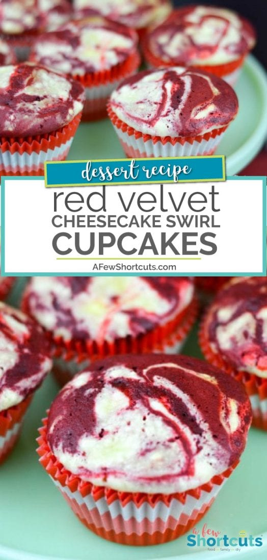 These are amazing and easy to make. Try this Red Velvet Cheesecake Swirl Cupcakes Recipe. Perfect for valentines! | AFewShortcuts.com #recipe #cupcakes #dessert #cheesecake #redvelvet
