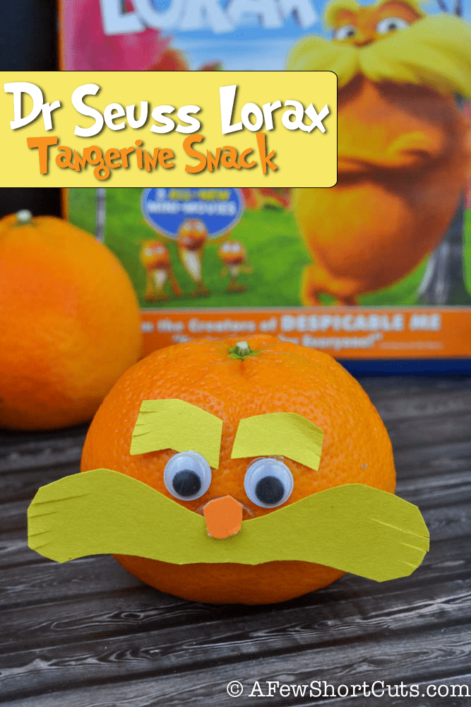 A healthy snack turned fun! Check out these Dr Seuss Lorax Tangerine Snacks!