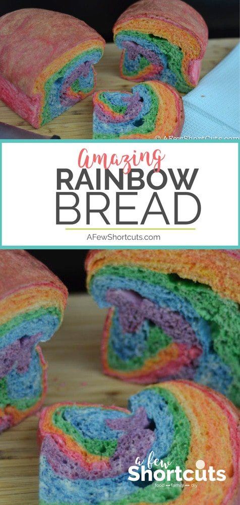 Make the coolest sandwich ever with this colorful Rainbow Bread Recipe! So much fun and perfect for spring or St Patricks Day! #BREAD #RECIPES #SPRING #RAINBOW #STPATRICKS