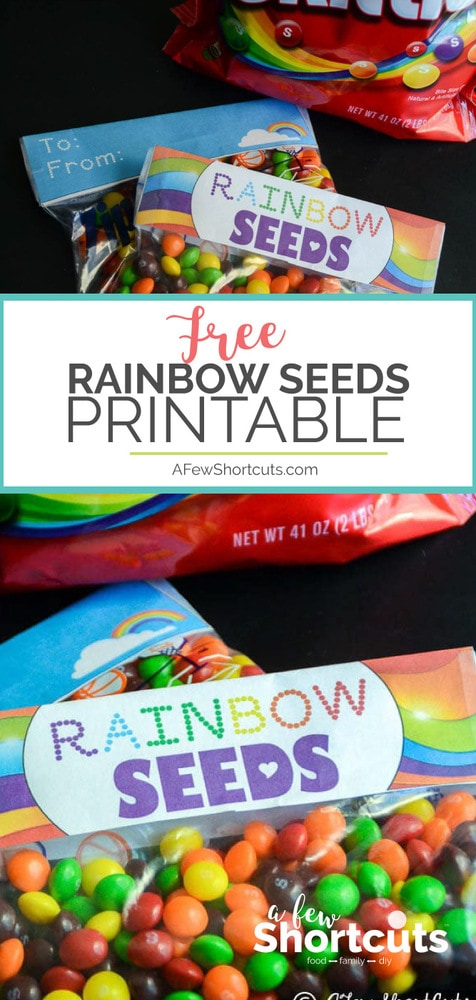Such a cute way to celebrate St Patricks Day or Spring. Print these FREE Rainbow Seeds Printable Labels to create a fun treat for the kids!