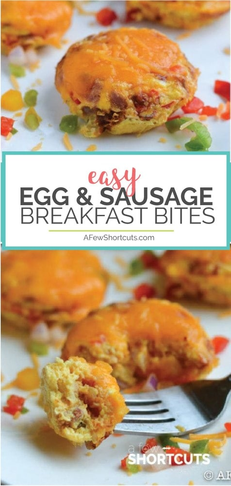 Quick and easy breakfast idea for those busy days! This tasty Egg and Sausage Breakfast Bites recipe is simple, gluten free, and freezer friendly!