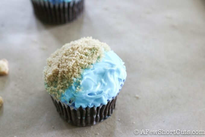 cupcake with blue frosting