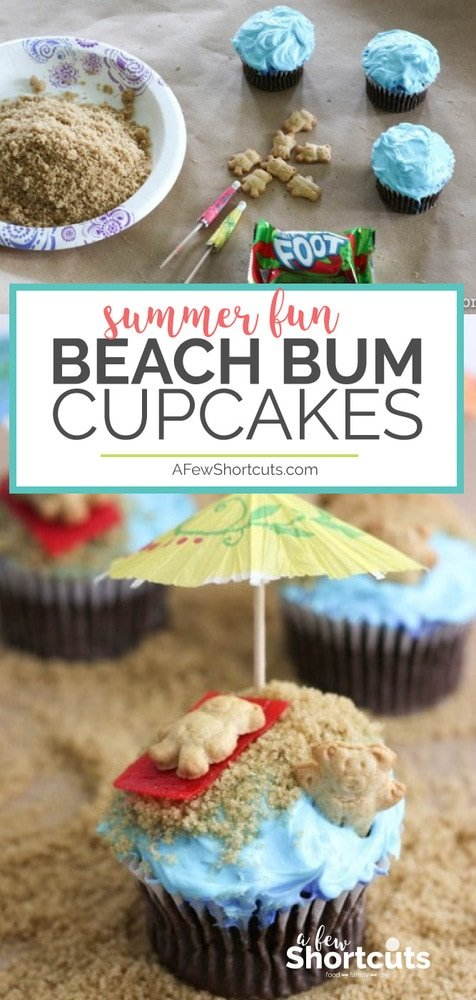 Such a fun way to celebrate Summer with the kids. Make a batch of cupcakes and turn them into these fun Beach Bum Cupcakes. So easy and the whole family will love it!