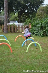 Get the kids outside and having fun with this cheap outdoor fun! Check out just how easy it is to make your own pool noodle hurdles!