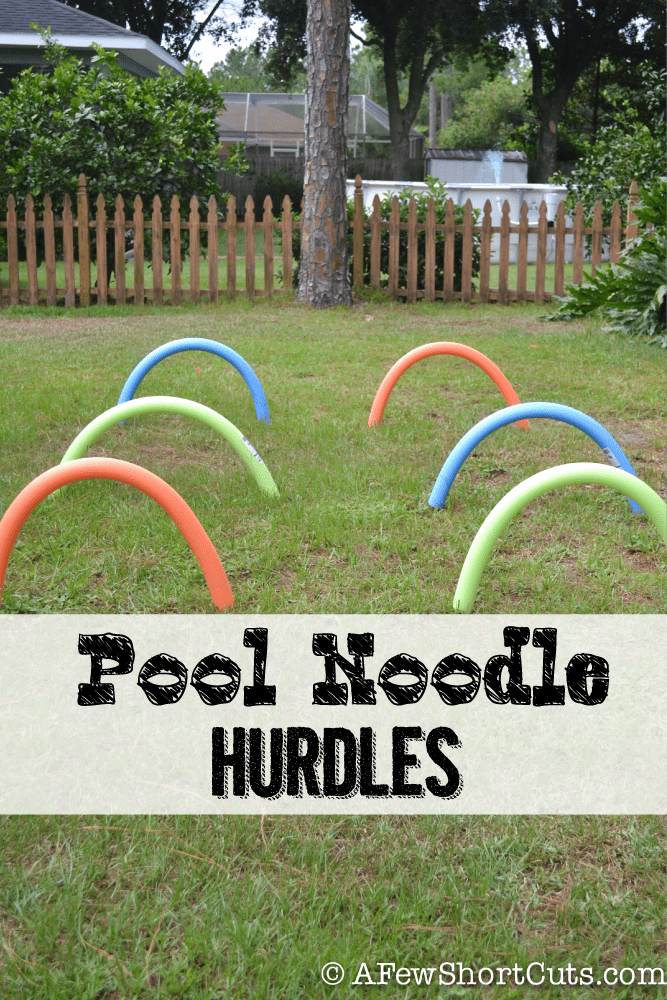 Endless backyard fun for under $10! Try these quick & easy Pool Noodle Hurdles! #diy