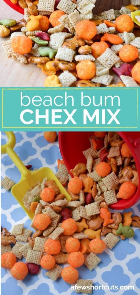 Heading to the beach or planning a shark week party? Stir up some of this yummy beach bum chex mix recipe!