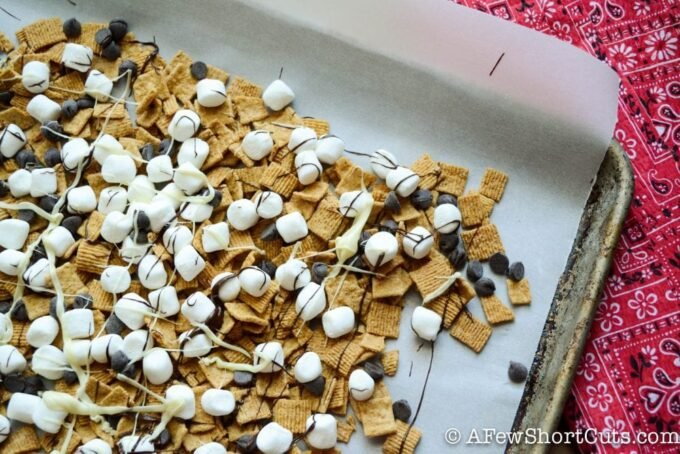 A fun and yummy summer snack! Before you go out on a hike or to the park try this Simple S'Mores Snack Mix Recipe for a tasty treat!