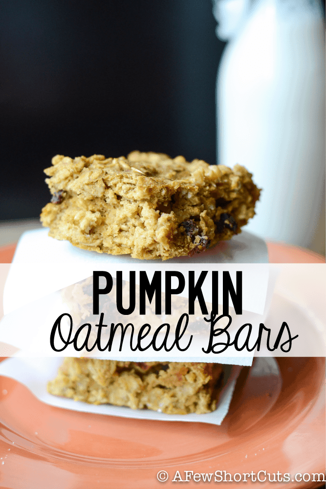 Delicious fall breakfast or snack. Pumpkin Oatmeal Bars #recipe