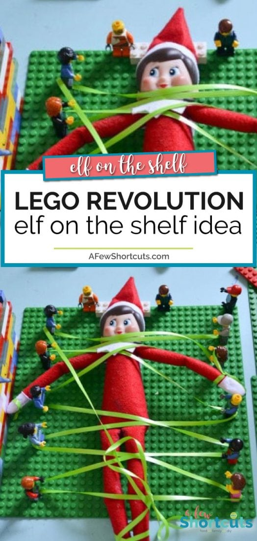 A fun Elf on the Shelf idea for the lego fans in your life. Check out this fun Lego Revolution Elf on th Shelf Idea and see how tangled up the elf gets. | @AFewShortcuts #elfontheshelf #christmas #elf