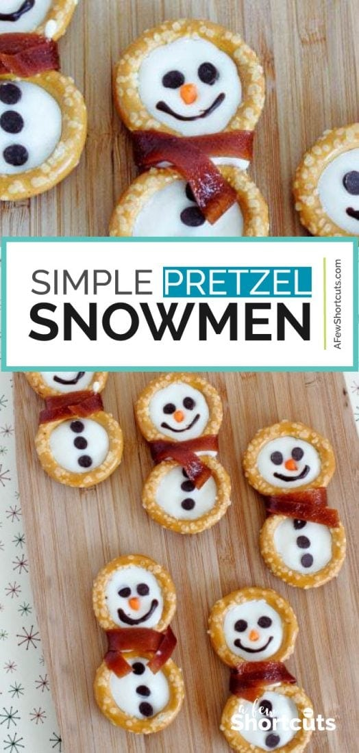 Super cute Simple Pretzel Snowmen Snack! The kids love these! | @AFewshortcuts #recipes #kidfood #winter #snowmen #snacks
