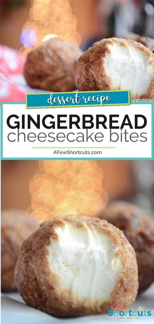The perfect holiday freezer dessert. This Gingerbread Cheesecake Bites Recipe is just DELIGHTFUL and so easy to make! | AFewShortcuts.com #recipe #holidays #christmas #dessert #gingerbread #cheesecake