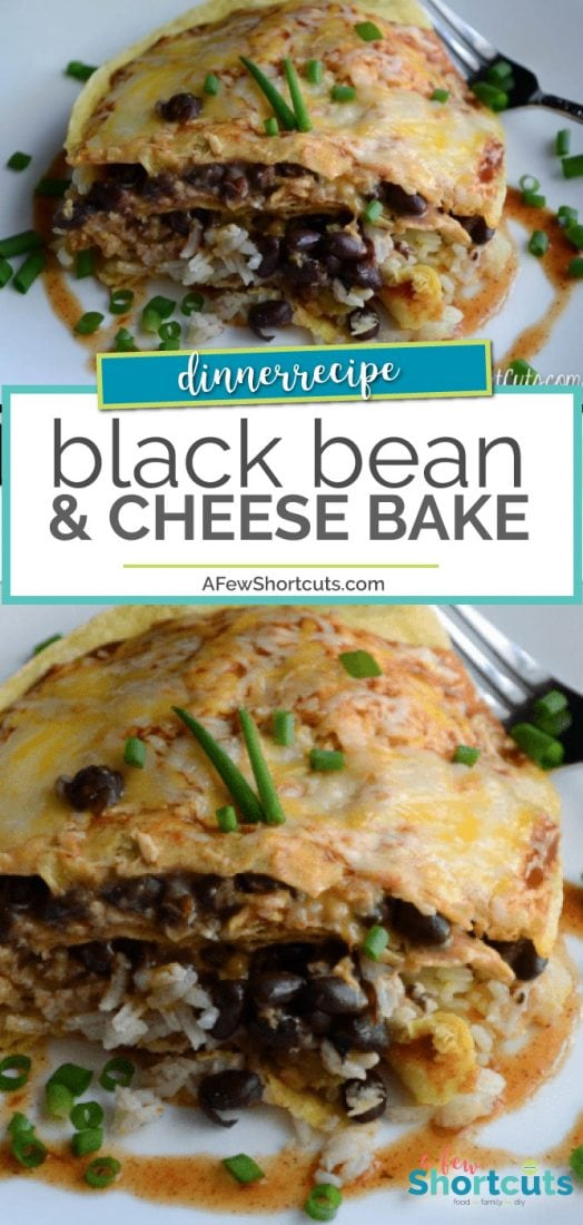 Simple and amazing weeknight dinner recipe. Try this easy Black Bean & Cheese Bake. Vegetarian & gluten free. | @AFewShortcuts #glutenfree #dinner #nomeat #recipe