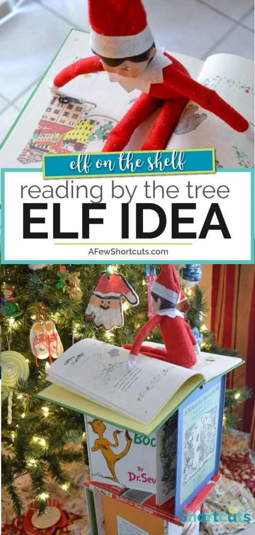 Grab some books and let your Elf on the Shelf build a tower with this simple Reading By the Tree Elf on the Shelf Idea. | @AfewShortcuts #elfontheshelf #christmas #elf