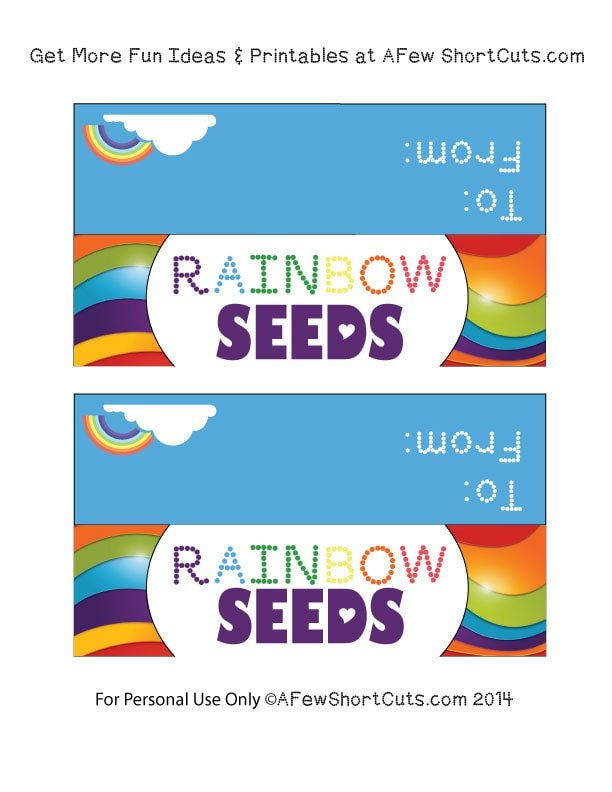 photograph regarding Free Printable Treat Bag Toppers named Rainbow Seeds Printable Deal with Bag Toppers - A Handful of Shortcuts