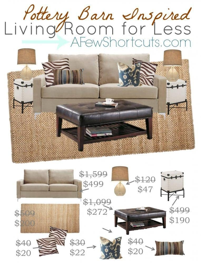 Pottery Barn Living Room Pottery Barn Inspired Living Room For Less A Few Shortcuts