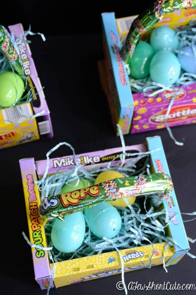 Such a fun and frugal Easter Basket Idea! Check out these fun DIY theatre Candy Box Easter Baskets! So simple to make!