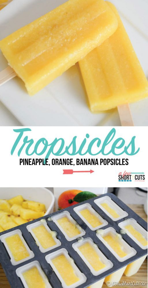 A cold treat for a hot day. Try these Tropsicles! Pineapple, Orange, & Banana Popsicles. They are an amazing way to unwind and enjoy a sweet treat. All natural, No sugar added.